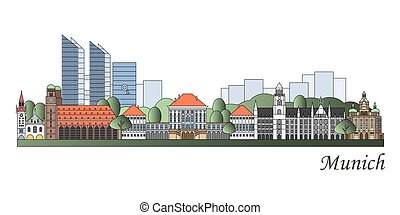 Munich skyline colored in editable vector file