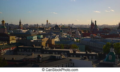 Moscow center rooftops and Moscow Kremlin time lapse -...