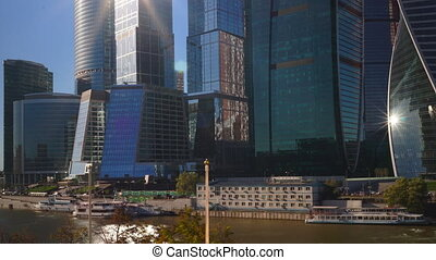 Moscow city business district and Moscow river time lapse...