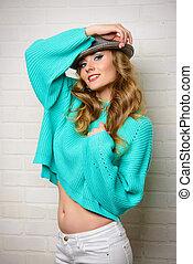 high spirits - Cheerful pretty woman in a bright casual...
