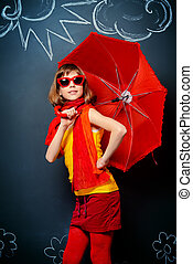 bright child - Joyful teen girl in colorful clothes stands...