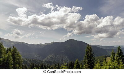 Carpathian mountains summer landscape with blue sky and...