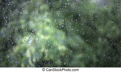 Close up image of rain drops falling on a window.