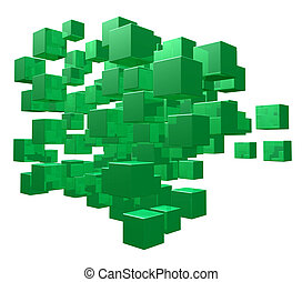 cubes - green cubes disorder on white background - 3d...