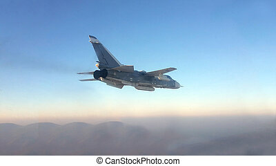 Military jet bomber Su-24 Fencer flying above the clouds