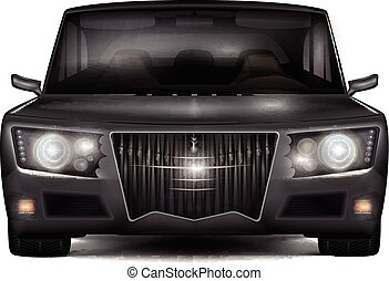 Modern dark silver car with retro design elements. Front...