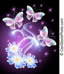 Neon butterflies with flowers with and stars - Neon...