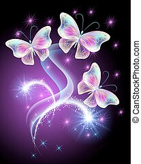 Butterflies with firework - Neon butterflies with firework...