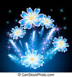 Transparent flowers and firework - Neon flowers and glowing...