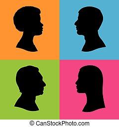 four human head silhouettes profile - Four vector...