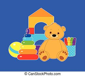 toys on blue horizontal - Vector colorful illustration for...