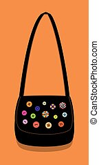 black bag with buttons - Vector illustration of a black...