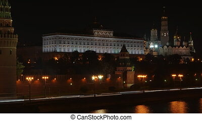 Moscow Kremlin embankment night time lapse video