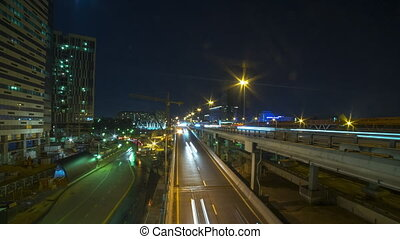 Several urban roads night time lapse, Moscow