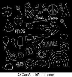 hand drawn chalkboard doodles collection vector illustration coffee, apple, ice cream, heart