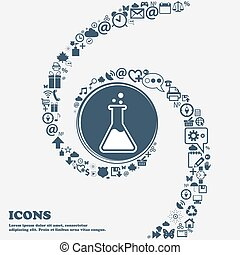 Flask icon in the center. Around the many beautiful symbols...