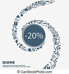 20 percent discount sign icon. Sale symbol. Special offer label in the center. Around the many beautiful symbols twisted in a spiral. You can use each separately for your design. Vector