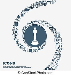 Oscar statuette sign icon in the center Around the many...