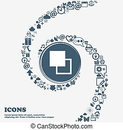 Active color toolbar icon sign in the center. Around the many beautiful symbols twisted in a spiral. You can use each separately for your design. Vector