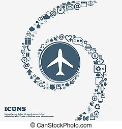 Airplane sign. Plane symbol. Travel icon. Flight flat label in the center. Around the many beautiful symbols twisted in a spiral. You can use each separately for your design. Vector