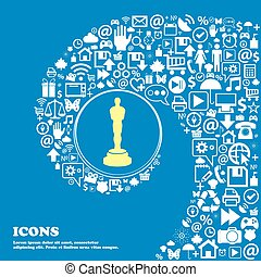 Oscar statuette sign icon . Nice set of beautiful icons...