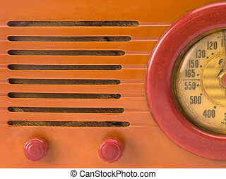Retro radio close-up - close-up of dial, knobs and speaker...