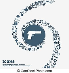 gun icon sign in the center. Around the many beautiful symbols twisted in a spiral. You can use each separately for your design. Vector