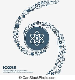 Atom, physics sign icon in the center. Around the many beautiful symbols twisted in a spiral. You can use each separately for your design. Vector