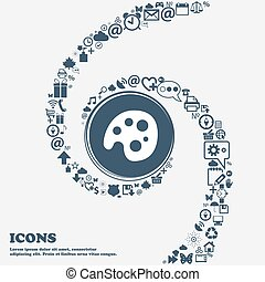 Palette icon sign in the center. Around the many beautiful symbols twisted in a spiral. You can use each separately for your design. Vector
