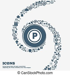 Car parking icon sign in the center. Around the many beautiful symbols twisted in a spiral. You can use each separately for your design. Vector
