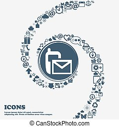 Mail icon. Envelope symbol. Message sms sign in the center....