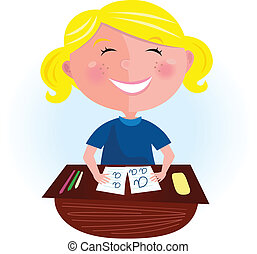 Back to school: Happy blond girl - Small pupil sitting in...