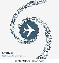 Plane icon sign in the center. Around the many beautiful symbols twisted in a spiral. You can use each separately for your design. Vector