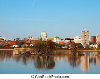 Harrisburg Pennsylvania On The River - The town center of...