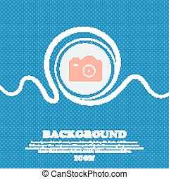 Photo Camera  sign icon. Blue and white abstract background flecked with space for text and your design. Vector