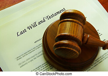Legal gavel on a will legal documents