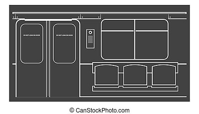 Old subway car interior Vector illustration