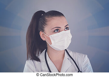 Nurse with gauze - Nurse with ponytail and with gauze is...