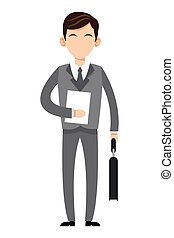 caucasian businessman icon - flat design caucasian...
