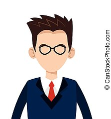 caucasian businessman with glasses icon - flat design...