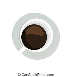 coffee cup topview icon - simple flat design coffee cup...