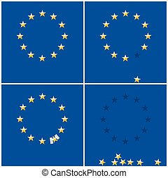 European Union ring stars on blue flag background