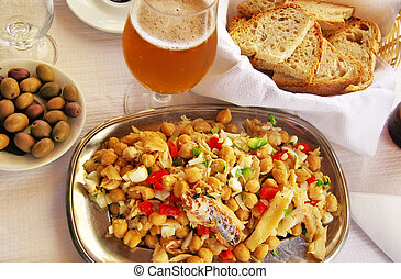typical portuguese boiled codfish with grain