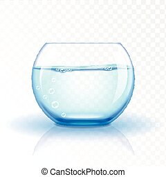 Realistic glass fishbowl, aquarium with water on transparent...