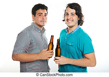 two dudes with beers