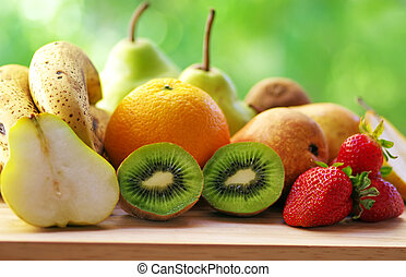 fresh fruits on table