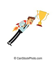 flying businessman with jetpack holding trophy cup icon