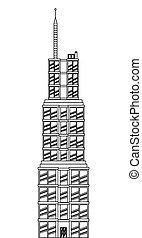 sears tower icon - simple black line sears tower icon vector...