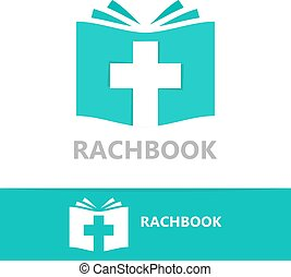 Vector logo combination of a book and christian cross