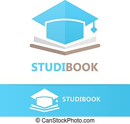 Vector book and student cap logo concept - Vector logo or...